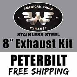 American Eagle 8 X 120 Inch Exhaust Kit With OE Style Elbows Fits Peterbilt 379, 389 & Glider
