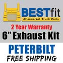BestFit 6 Inch Chrome Exhaust Kit With Long Drop Elbows Fits Peterbilt 378, 379 & 389 Glider
