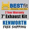 BestFit Kenworth W900B/W900L Exhaust Kit 7 Inch For AeroCab 40 Inch Steps