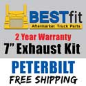 BestFit 7 Inch Chrome Exhaust Kit With Long Drop Elbows Fits Peterbilt 378, 379 & 389 Glider