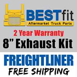 BestFit 8-5 Inch Chrome Exhaust Kit With OE Style Elbows  Fits Freightliner Classic & FLD