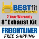 BestFit 8 Inch Chrome Exhaust Kit Fits Freightliner FLD & Classic