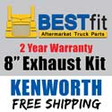BestFit Kenworth W900B/W900L Exhaust Kit 8 Inch For AeroCab With 40 Inch Steps