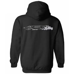 Black Hoodie With Gray Chrome Shop Mafia Truck Logo On Back