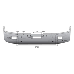 16 Inch Chrome Wrap Around Bumper With Tow & Fog Light Holes Fits Freightliner FLD