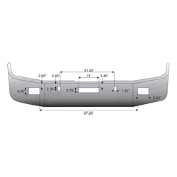 Freightliner FLD Bumper 16 Inch Full Wrap With Tow Holes On Each Side & Fog Light Holes