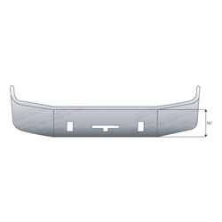 Freightliner Columbia/Century Bumper 16 Inch Full Wrap With Tow & Vent Holes