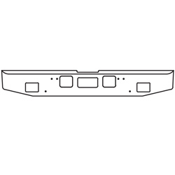16 Inch Chrome Tapered End Bumper With Tow, Step, Rectangle Fog Light Holes Fits Freightliner Coronado