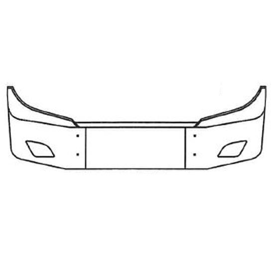 18 Inch Chrome Wrap Around Bumper With Fog Light Holes Fits Freightliner  Cascadia 116 & 126