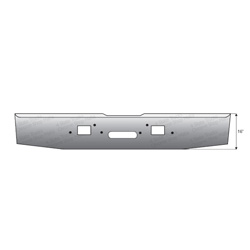 16 in Standard Rolled End Bumper-with Tow and Step Holes fits Freightliner