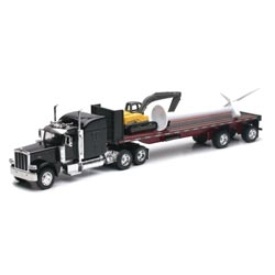 Custom Die-Cast Toy Truck 1:32 Scale Peterbilt 389 Cab With Turbine &  Excavator