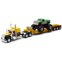 Custom Die-Cast Kenworth W900L Lowboy With Double Drop & Monster Truck 1:32 Scale Toy Truck