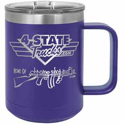 15 Oz. 4 State Trucks / Chrome Shop Mafia Coffee Mug With Handle - Purple