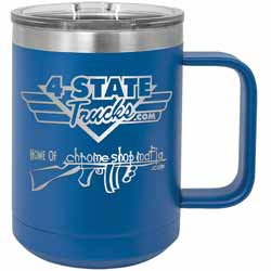 15 Oz. 4 State Trucks / Chrome Shop Mafia Coffee Mug With Handle - Royal Blue