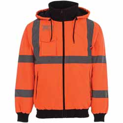 Safety Orange Heated Bomber Jacket With 7 Hour Power Bank