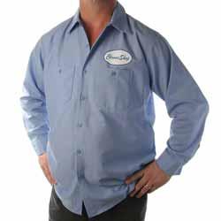 CSM Blue Workshirt With Blue Lettering On White Badge