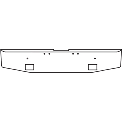 16 Inch Chrome Standard Tapered End Bumper W/ Light Cutouts Fits Freightliner Classic XL Day Cab 2004-2007