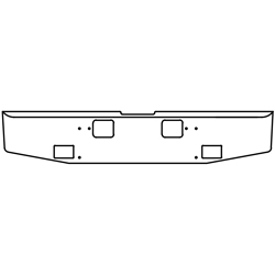 16 Inch 7 GA Chrome-Plated Steel Std Tapered End Bumper With Rectangle Light and Step Holes Fits Freightliner Classic XL 2008