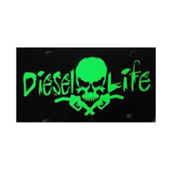 Diesel Life Black & Neon Green License Plate
