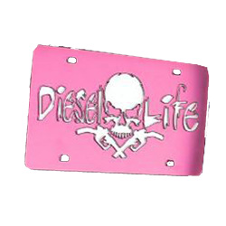Diesel Life Pink/Chrome License Plate