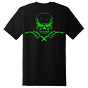 Diesel Life Skull & Pumps Black/Neon Green T-shirt Size 2XL