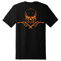 Diesel Life Skull & Pumps Black/Orange T-shirt Size 2XL