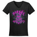Diesel Life Ladies Distressed Splatter Black & Pink V-Neck