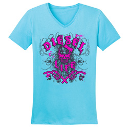 Diesel Life Ladies Distressed Splatter Tahiti/Pink V-neck Size Medium
