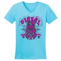 Diesel Life Ladies Distressed Splatter Tahiti & Pink V-Neck