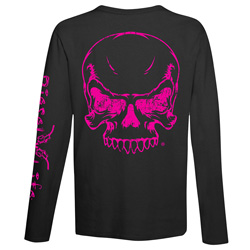 Diesel Life Ladies LS Skull Black/Pink T-shirt Size Large