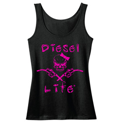 Diesel Life Ladies Skull & Pumps Black & Pink Tank - Medium