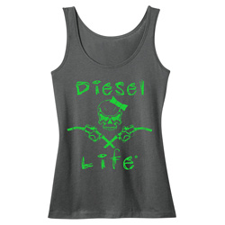 Diesel Life Ladies Skull & Pumps Charcoal & Neon Green  Tank - 2XL