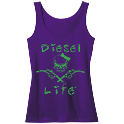 Diesel Life Ladies Skull & Pumps Purple/Green Tank Size 2XL