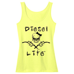 Diesel Life Ladies Skull & Pumps Neon Yellow/Black Tank Size Small