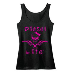 Diesel Life Ladies Skull & Pumps Pink/Black Tank Size Large