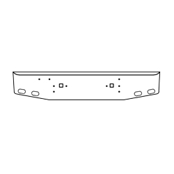 International 9370/9670 Texas Rolled Style Bumper 18 Inch Chrome With Tow Holes & 4 Oval Holes