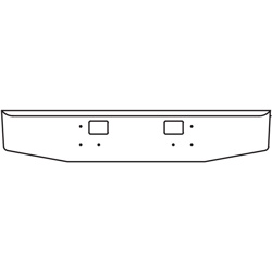 16 Inch Chrome Standard Rolled End Bumper With Hitch Holes Fits International 5900I SFA