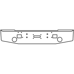 16 Inch 7 GA Chrome-Plated Steel Std Tapered End Bumper With RD Light, Step, And Tow Holes Fits Kenworth 1967-1983 Conv