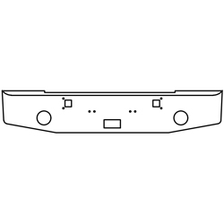 16 Inch Chrome Tapered End Bumper W/ Tow, Step, Fog Light Holes Fits Kenworth W900A