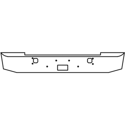 16 Inch Chrome Standard Rolled End Bumper With Tow, Step Holes Fits Kenworth W900S 1989-Current