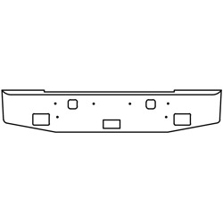 16 Inch Chrome Standard Rolled End Bumper With Step, Tow, Light & Bolt Holes Fits Kenworth W900S