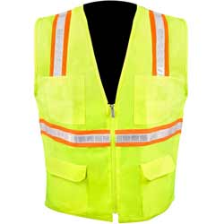 High Visibility Class 2 Safety Vest With Zipper, 6 Pockets