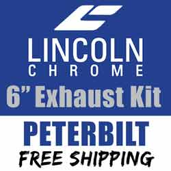 Lincoln Chrome 6-5 Inch Exhaust Kit With Long Drop Elbows & Chrome Y-Pipe Fits Peterbilt 378, 379 & 389 Glider