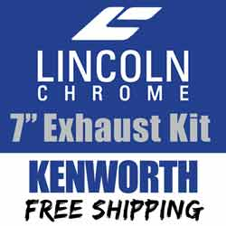 Lincoln Chrome 7-5 Inch Exhaust Kit Fits Kenworth W900 AeroCab With 40 Inch Step