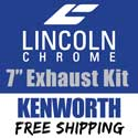 Lincoln Chrome 7-5 Inch Exhaust Kit Fits Kenworth W900 AeroCab With 45 Inch Step