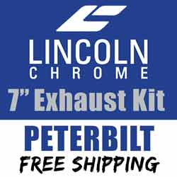 Lincoln Chrome Peterbilt 378/379/389 Exhaust Kit 7 Inch With Long Drop Elbows