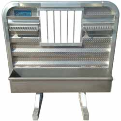 Merritt Aluminum 68 X 76 Inch Dyna-Light Cab Rack With Jail Bar Window, 2 Lower Trays & 2 Chain Hangers