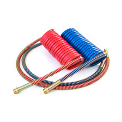 15 Foot Red/Blue Coiled Air Hose Set With 6 Inch Leads