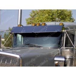 Stainless 13 inch Dropped Visor for Kenworth
