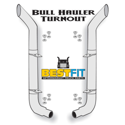 BestFit 8-5 X 114 Chrome Exhaust Kit With Bull Hauler Stacks & OE Style Elbows